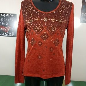 Miss Me Sweater with Rhinestones and Crochet Trim